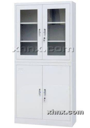 文件柜网提供生产上玻下铁平开门柜厂家