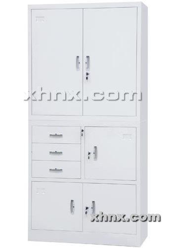 文件柜网提供生产偏三屉开门双节柜厂家