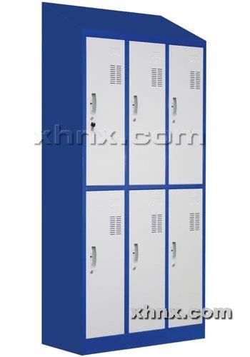文件柜网提供生产套色斜顶六门更衣柜厂家